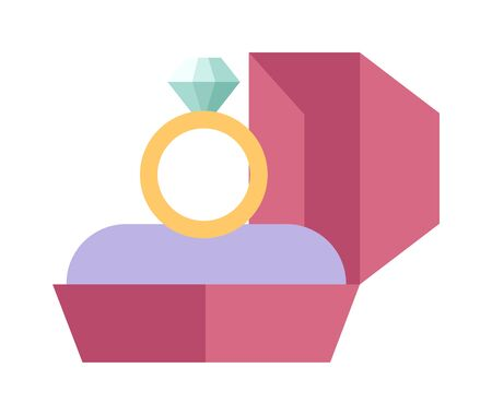 wedding ceremony: Vector wedding ring in a beautiful pink box flat design. Wedding ring and pink box. Wedding ring symbol of love. Wedding ring jewelry. Wedding ring marriage celebration.