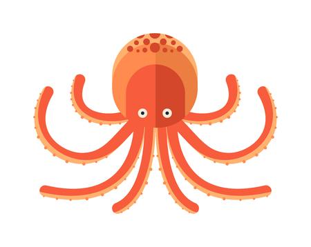 animales del zoologico: Ilustraci�n de vectores pulpo de dibujos animados. Ilustraci�n de pulpo. estilo de dibujos animados pulpo. pulpo lindo en blanco. pulpo de la historieta bajo el agua de los animales. animales de la vida de mar