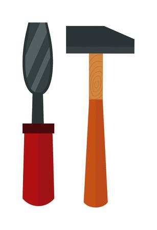 hammer: Chisel, hammer vector illustration. Chisel, hammer  isolated on white background. Chisel, hammer vector icon. Chisel and hammer isolated vector. Chisel, hammer  silhouette isolated. Chisel and hammer