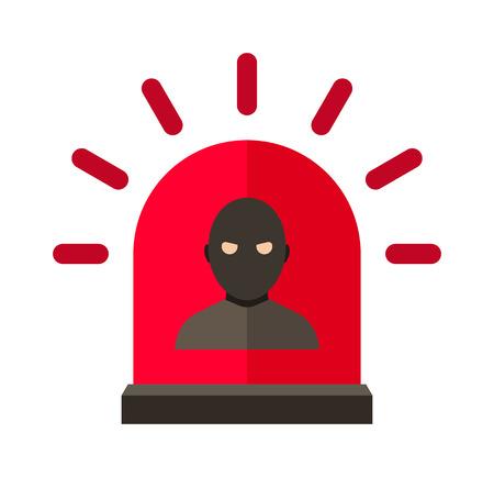 alerta: Ladr�n vector de alerta. Ladr�n ilustraci�n de alerta. alerta ladr�n aislado en blanco. Ladr�n icono de alerta. Ladr�n estilo plano de alerta. Ladr�n silueta de alerta. Ladr�n concepto de alerta