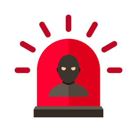 burglar alarm: Thief alert vector. Thief alert illustration. Thief alert isolated on white. Thief alert icon. Thief alert flat style. Thief alert silhouette. Thief alert concept