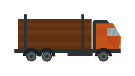 timber harvesting: Timber truck vector. Timber truck illustration. Timber truck isolated on white. Timber truck icon. Timber truck flat style. Timber truck silhouette. Timber truck auto transport. Transportation timber truck