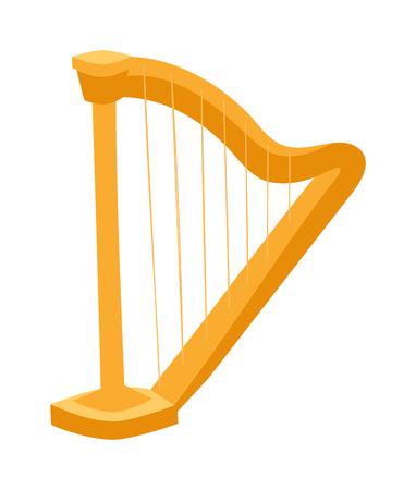 instrumentos de musica: vector de arpa. ilustración arpa. Arpa aislado en blanco. Icono de arpa. Arpa estilo plano, la silueta de arpa. estilo de dibujos animados arpa aislado sobre fondo blanco. material de oro arpa