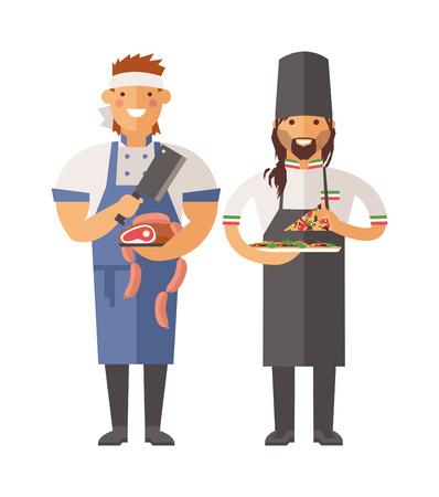 Carnicería: ? Carnicero artoon y chef de pizza carácter ilustración vectorial. Carnicero, Pizza carácter cocinero del icono del vector. Pizza y carnicero cocinero que sostiene la pizza cocida. pizzeros de divertidos dibujos animados