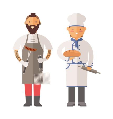 chef: chef de grill y chef panadero ilustración vectorial personajes. Sonrisa de los cocineros cocinar. Ilustración feliz cocineros. Panadero del cocinero carácter. Grill carácter chef. chef de grill y hombre feliz del panadero del cocinero.