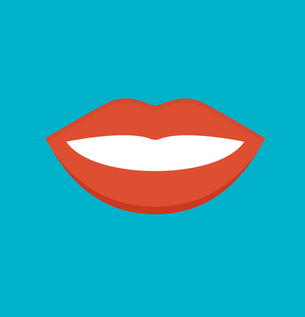 mouth smile: Feemale mouth isolated vector illustration. Feemale mouth isolated isolated on blu background. Feemale mouth isolated flat icon illustration. Feemale mouth isolated silhouette Illustration