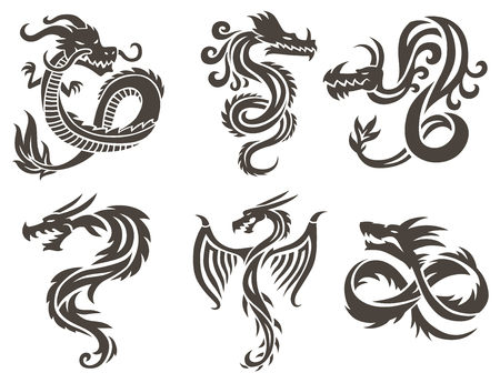 Dragon Tattoo weißen Hintergrund Vektor-Illustration. Vector Chinese Dragon für die Tätowierung. Chinesische Drachen Tattoo. China Tattoo Drachen Silhouette. China Symbol Drachen Silhouette Tier Tattoo.