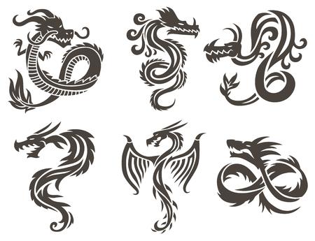 Tatuażem białym tle ilustracji wektorowych. Wektor Chiński smok w tatuaż. Chiński smok tatuaż. Chiny Tatuaż Smok sylwetka. Chiny symbolem smoka sylwetki zwierząt tatuaż.