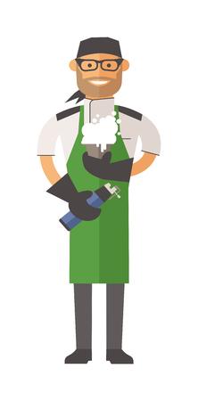 vector  molecular: Vector Molecular kitchen chef. Molecular kitchen chef vector illustration. Cartoon Molecular kitchen chef icon. Restaurant Molecular kitchen chef uniform. Molecular kitchen chef people. Molecular kitchen