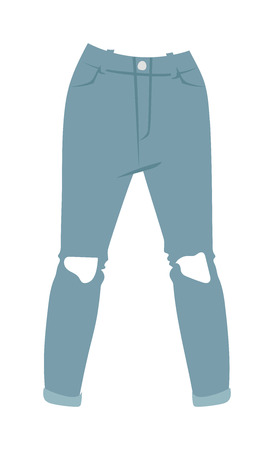 menswear: Cartoon jeans trousers details silhouettes of denim menswear. Blue jeans on white. Jeans casual isolated fashion. Flat jeans clothing style. Cartoon jeans clothing design. Illustration