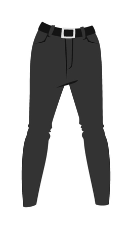 menswear: Cartoon jeans trousers details silhouettes of denim menswear. Black jeans on white. Jeans casual isolated fashion. Flat jeans clothing style. Cartoon jeans clothing design. Illustration