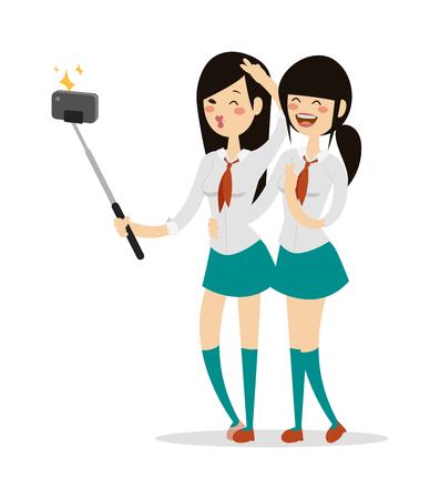 schoolgirls: Japanese schoolgirls vector. Japanese schoolgirls  illustration. Japanese schoolgirls isolated on white. Japanese schoolgirls icon. Japanese schoolgirls isolated. Japanese schoolgirls flat style