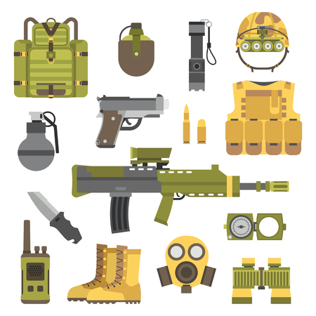 army boots: Military weapon guns symbols vector illustration. Military armor guns set. Military weapon guns army forces. Military weapon guns design. Military weapon guns symbols. Military weapon guns icons