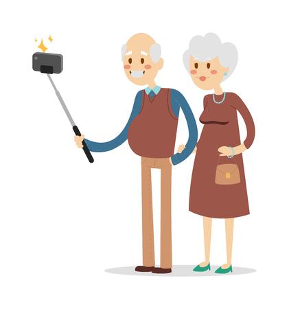 Selfie toma de la foto abuelo y la abuela ilustración vectorial retrato. La gente mayor diversión. Selfie mujer, hombre, hombres antiguos tiro, mujer mayor unión concepto ancianos celebran. Pensionistas concepto de la vida feliz Ilustración de vector