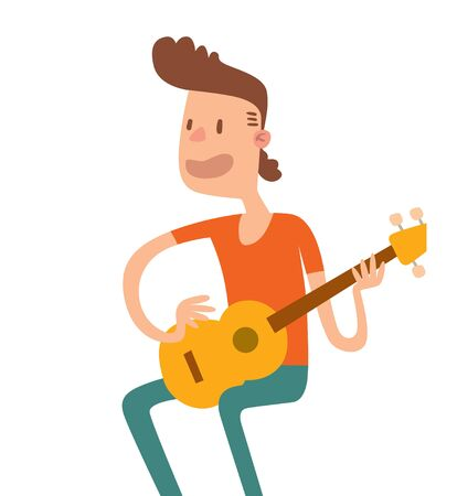 singer on stage: Acoustic guitar boy sitting and play flat illustration. Acoustic guitar boy cartoon character with guitar on white background. Acoustic guitar boy guitarist. Acoustic guitar boy cartoon style.