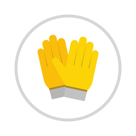 safety gloves: yellow gloves, hand protection isolated on white background. Gloves safety on white background. Yellow glove. Gloves leather sportswear. Hand protection yellow glove. Illustration