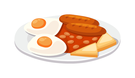 grease: Breakfast with scrambled eggs and toasts, sausage isolated on white background vector. Full breakfast with sausage, scrambled eggs. Grilled sausage with scrambled eggs and toast breakfast.