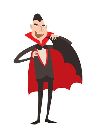 Cartoon Dracula vector. Charming predatory vampire. Cartoon Dracula smiling. Cartoon Dracula laughing. Cartoon vampire funny character, comic Dracula Halloween illustration.