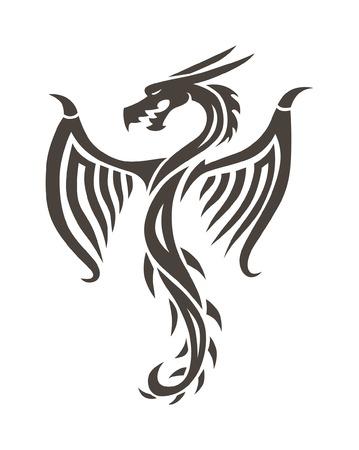 ドラゴンのタトゥーの白い背景ベクトル イラスト。ベクトル、タトゥーの中国のドラゴン。中国のドラゴンのタトゥー。中国のタトゥーのドラゴンのシルエット。中国シンボル ドラゴン シルエット動物の入れ墨。 写真素材 - 53359459