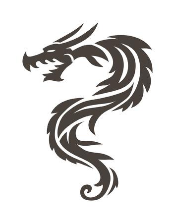 Dragon Tattoo white background vector illustration. Vector Chinese Dragon for the tattoo. Chinese dragon Tattoo. China Tattoo Dragon silhouette. China symbol dragon silhouette animal tattoo.