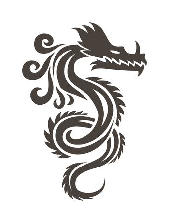 Chinese draak op een witte achtergrond vector illustratie. Vector Chinese kalligrafie voor de tatoeage. Chinese draak symbool. China symbool draaksilhouet. China symbool draaksilhouet dier tattoo.