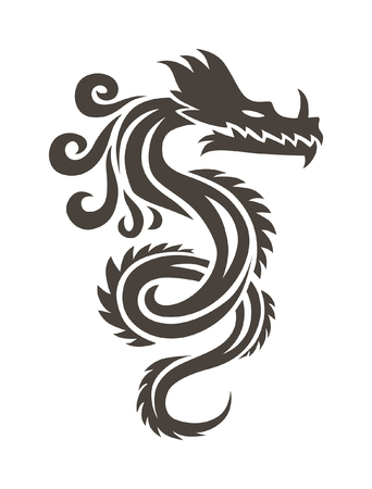 Chinese dragon on white background vector illustration. Vector Chinese Calligraphy for the tattoo. Chinese dragon symbol. China symbol dragon silhouette. China symbol dragon silhouette animal tattoo.