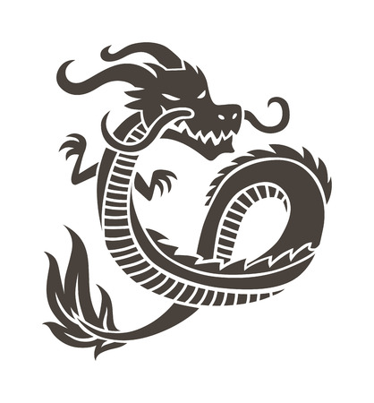 chinese symbol: Dragon Tattoo white background vector illustration. Vector Chinese Dragon for the tattoo. Chinese dragon Tattoo. China Tattoo Dragon silhouette. China symbol dragon silhouette animal tattoo.
