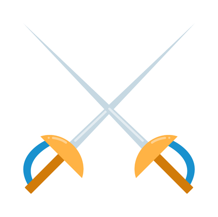 fencing sword: Colored fencing sword icon vector illustration isolated. Vector Illustration of fencing sword. Fencing sword vector. Colored fencing sword sport weapon. Colored fencing sword equipment. Illustration