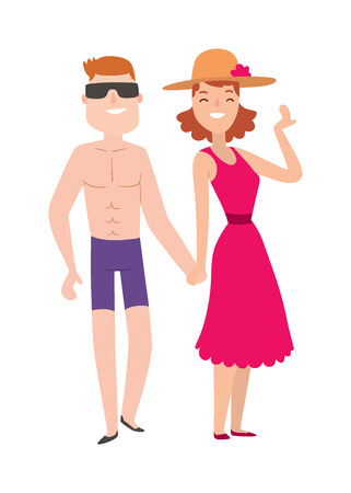 happy couple: Couple beach man and woman cartoon illustration. Beach couple walking. Young happy lovers couple beach, man holding hands embracing outdoors. Happy couple beach together. Romantic couple beach.