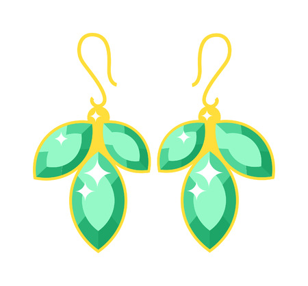earrings: Emerald earrings flowers gold accessory isolated. Emerald elegant earrings on white background. Luxury emerald earrings. Glamour decoration.