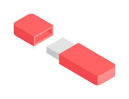 flash drive: Flash Drive flat 3d isometric graphic vector. Red usb flash drive. Flash Drive flat 3d digital electronic device. Electronic flash drive information equipment. Electronic flash drive usb accessory. Illustration