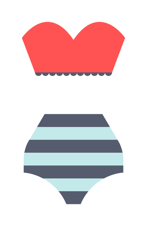 swimsuit model: Flat swimsuit isolated illustration. Flat icon and mobile application red swimsuit. Woman swimwear red swimsuits flat icon isolated illustration. Flat swimsuit bikini design.