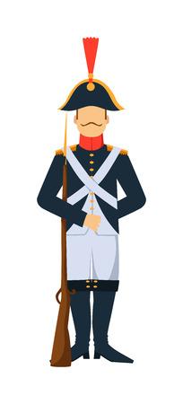 Francuski oddział starym stylu siły zbrojne człowieka z ilustracji broni. Francuski oddział straży żołnierz z pistoletem. Francuski oddział mężczyzna w mundurze z bronią na białym tle. Francuski Old Army