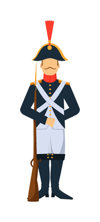 French troop old style armed forces man with weapon illustration. French guard troop soldier with gun. French troop man in uniform with weapon isolated on white background. French Old Army