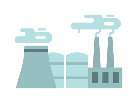 power station: Flat thermoelectric power station flat vector illustration. Thermoelectric station vector. Thermoelectric station energy industry. Thermoelectric station factory vector. Energy industry.