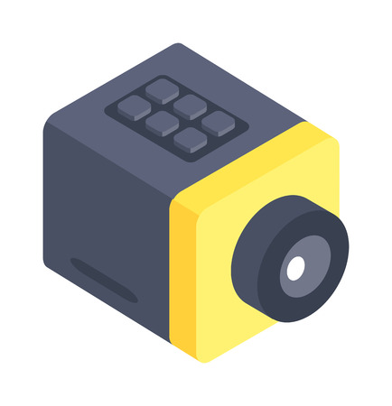 web camera: Isometric web camera icon isolated on a white background. Isometric web camera. Webcam 3d isometric icon isolated. Desktop isometric web camera on a stand. Webcam icon, symbol in flat.