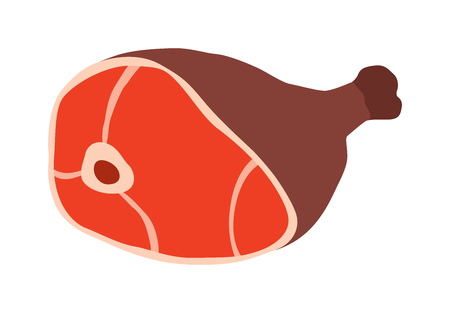 knuckle: Pork leg with bone vector illustration. Meat products with pork leg for butcher shop or fresh food. Pork leg vector. Pork leg meat product with bone cartoon vector. Illustration