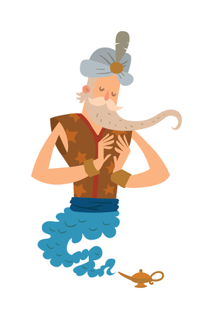 a legend of magic: Cartoon djinn old man coming out of a magic lamps. Arabia or India religion genie. Genie vector people isolated on white background. Legend cartoon wizard