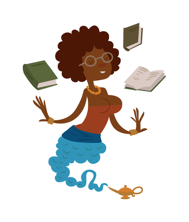 genie woman: Vector cartoon beautiful teacher gin from the magic lamp on a white background. Set of fairy tale characters. Teacher-gin in glasses and books. Cartoon cute teacher gin. Illustration