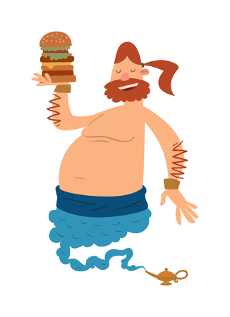 magic lamp: Cartoon fat boy gin with large hamburger coming out of a magic lamp flat vector illustration. Vector Cartoon fatboy gin and magic lamp. Character fat boy gin.