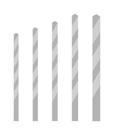 brocas de taladro de diferentes tamaños de vectores aislados sobre fondo blanco. poco de dibujos animados taladro plano vectorial plana. broca de la herramienta de metal de perforación. industria del acero poco. Taladro instrumento de poder bits