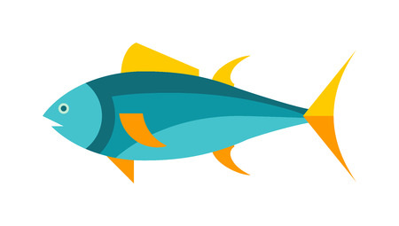 tuna fish: Tuna fish cartoon animals vector illustration. Yellowfin tuna in fast motion. Flat simple tuna vector illustration. Tuna fish marine food. Healthy seafood tuna.