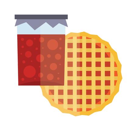 homemade cake: Jar of jam and fruit pie cartoon flat vector illustration. Fruity jam. Natural fruit jam preserves jar. Lattice topped apricot tart. Homemade cherry jam. Tart cake. Jam sweet fruit jelly.