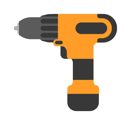 cordless: Screwdriver flat vector. Cordless drill electro tools. Electric screwdriver icon. Some cordless drill isolated on white background. Cordless drill repair technology