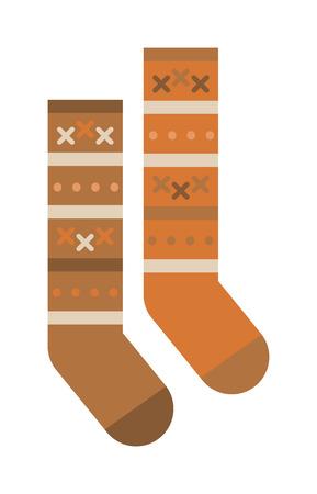 white socks: Pair of socks flat cartoon vector style. Socks isolated on a white background. Multicolored woolen socks on a white background. Socks warm winter clothing. Winter socks vector. Illustration