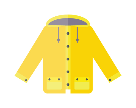 spring coat: Yellow raincoat weather jacket cartoon vector illustration. Rain coat cartoon. Rain jacket waterproof. Autumn or spring coat isolated. Yellow raincoat waterproof clothes Illustration