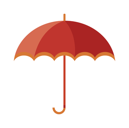isolated on red: Vector illustration of classic elegant opened red umbrella isolated on white background. Flat umbrella flat cartoon vector illustration. Red umbrella weather parasol. Illustration