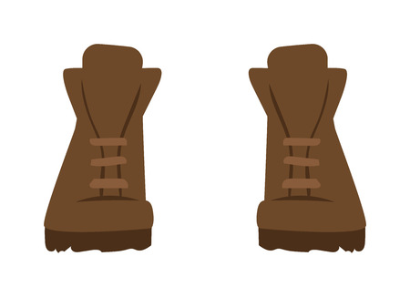army boots: Gray boots cartoon vector illustration. Vector cartoon army boots. Gray warm shoes footwear. Boots fashion shoe. Boots sport shoes.