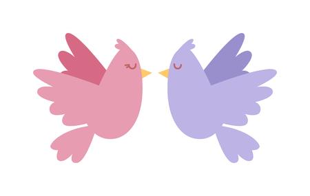 paloma caricatura: Palomas par de iconos de vectores ilustración. estilo de dibujos animados de la paloma pájaros de colores vuelan pareja. tarjeta de felicitación de San Valentín. dibujos animados par de palomas en la ilustración del vector del amor. Invitación de boda con diseño de palomas.
