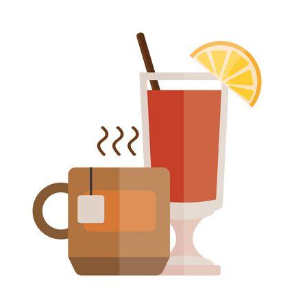 茶杯用柠檬片卡通矢量插图。一杯白底红茶。加柠檬片的茶杯。一杯热茶,一杯加柠檬和吸管的冰茶。红酒平面矢量